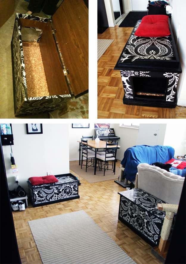 20 superbes id es pour cacher la liti re de votre chat yummypets. Black Bedroom Furniture Sets. Home Design Ideas