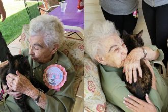 At 103, Lillian receives the purrfect…